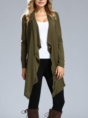 Asymmetric Hem Plain Long Sleeve Cardigans