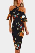 Random Floral Print Halter Flounced Sleeves Bodycon Dress