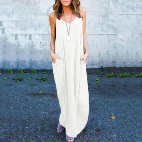 Dreamlip Spaghetti Strap Loose Fitting Slit Pocket Plain Sleeveless Maxi Dresses
