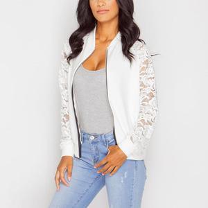 Lace Patchwork Zipper Short Coat
