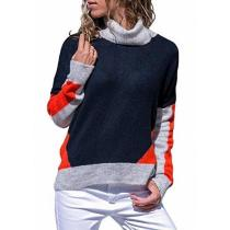 Casual Color Matching High Neck Long Sleeve Loose Sweater Knitted Sweater