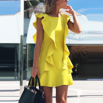 Ruffle Design Solid Backless Bodycon Dress