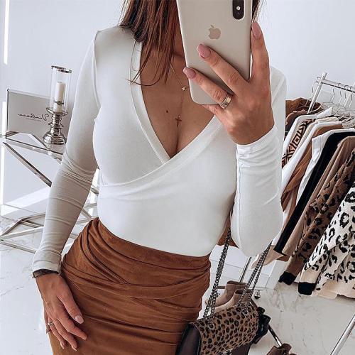 Sexy Deep V Collar Plain Slim Cotton  T-Shirts