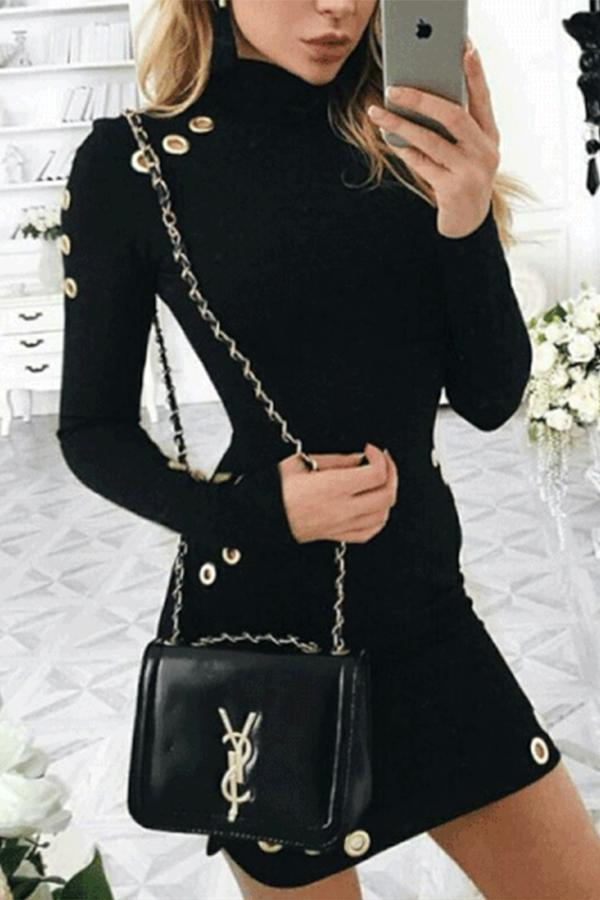 Hollow Out  Long Sleeve Kniting Bodycon Dress