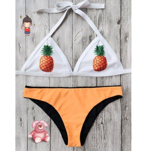 Pineapple Print Run Color Split Swimsuit