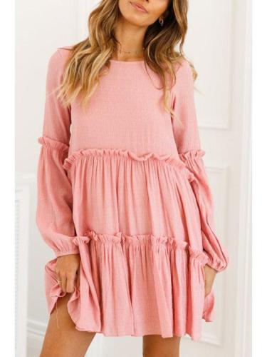 Fashion Pink Long Sleeve Elegant Mini Dresses