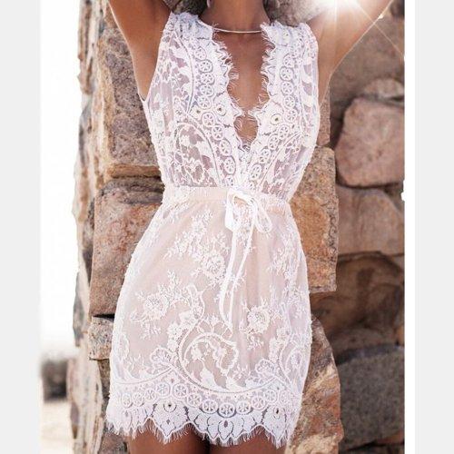 Deep V Sexy Lace Bodycon Dress