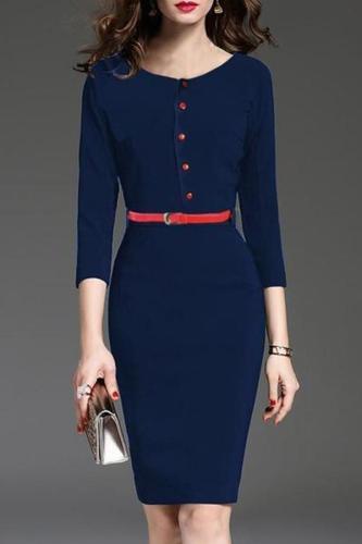Round Neck  Belt Decorative Button  Plain Bodycon Dress