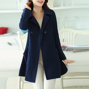 Loose Lapel Patch Pocket Plain Woolen Coat