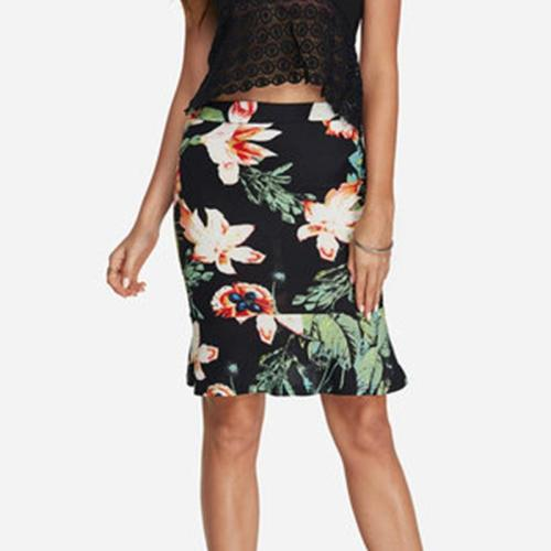 Floral Print Mermaid Casual Mid Waist Women's Skirt