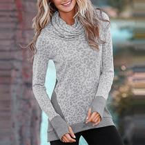 Turtle Neck Long Sleeve Leopard Printed T-Shirts