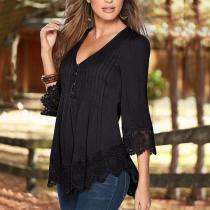 Elegant Fashion Loose Plain V Collar Lace Hem Long Sleeve Blouse