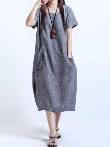 Round Neck  Patch Pocket  Plain  Cotton/Linen Maxi Dress