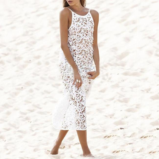 Hollow Maxi Dress Sun   Protection Beach Wear