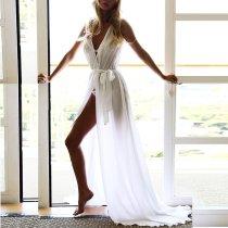 Sexy Deep V Lace-Up Sleeveless Maxi Dress
