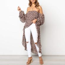 Sexy Strapless Long Sleeve Leopard Printed Asymmetrical Hem Blouses