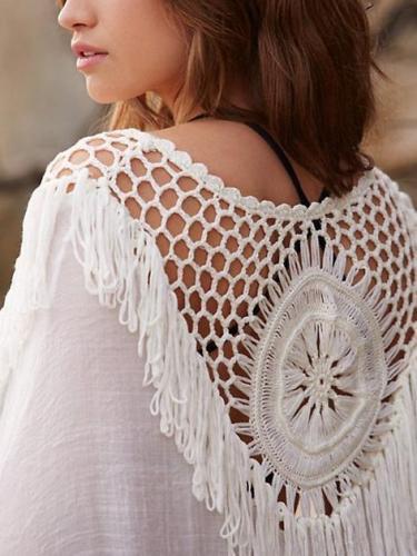 Casual Crochet Hollow Out Loose Tassel Shirt