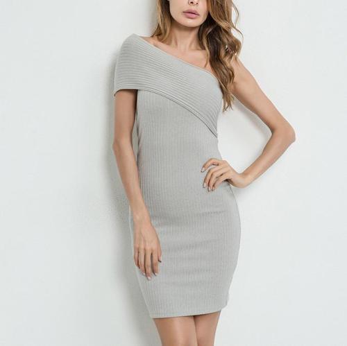 Cutaway Shoulder Strip Splicing Bodycon Dress