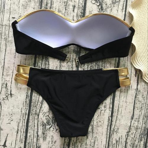 Ladies Sexy Stitching Gilded Bikini Swimwear