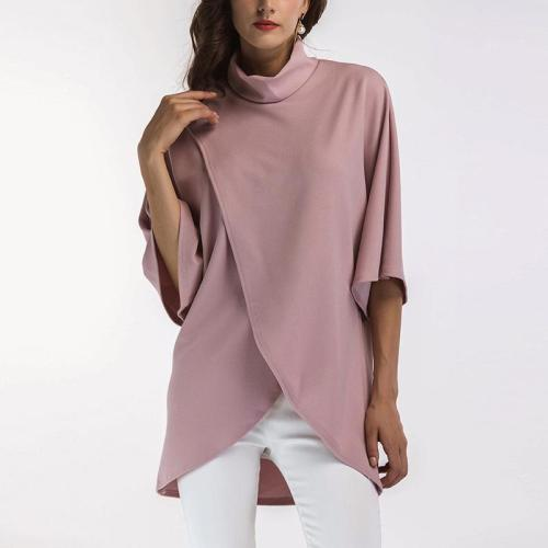 Fashion Stand-Up Five-Point Sleeves Slit T-Shirt