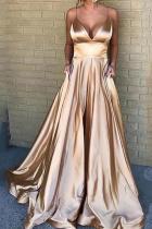 Sexy V Neck Pure Colour Sling Maxi Dresses