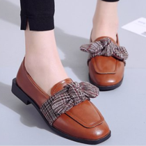 ow plaid Square Toe Low Heels Loafers