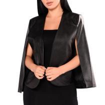 Sexy Pure Color PU Cloak Blazer