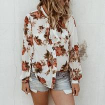 Lace Up Floral Printed Long Sleeve Blouses