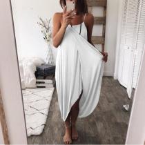 Spaghetti Straps Plain Asymmetrical Hem Maxi Dresses