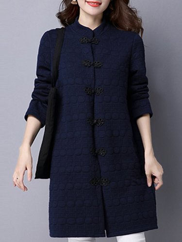 Band Collar Pocket Plain Coat