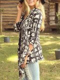 Abstract Pattern 3/4 Sleeves Cardigan