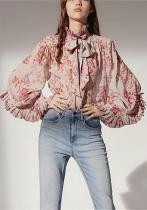 Fashion Buttons Flounce Print Long Sleeves Shirt