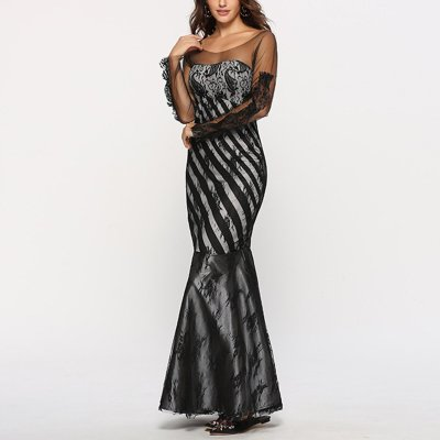 Fashion Lace Gauze Slim Fishtail Evening Dress