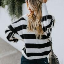 V-Neck Striped Loose Long-Sleeved Casual T-Shirts