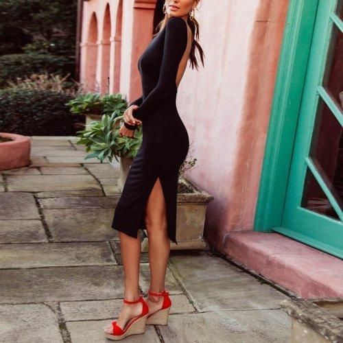 Elegant Sexy Fashion Slim Plain Backless Long Sleeve Fork Bodycon Dress