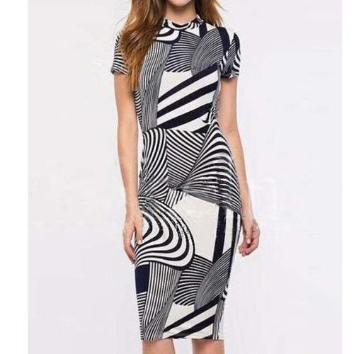 Band Collar Geometric Bodycon Dress