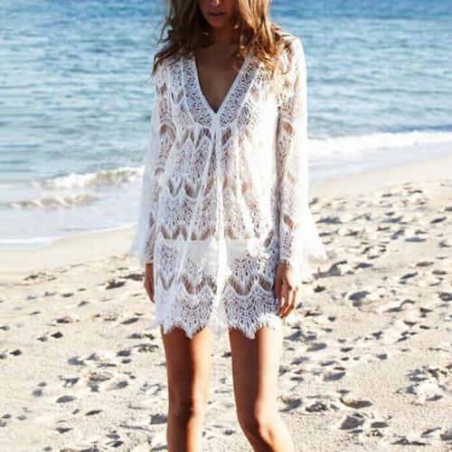 Bohemia Sexy Perspective Hollow Bikini Beach Sun Protection Shirt