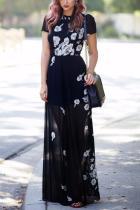 Elegant Fashion Floral Print Tied Waist Maxi Dress