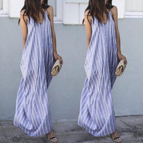 Sexy Blue Stripe Sleeveless Casual Dresses