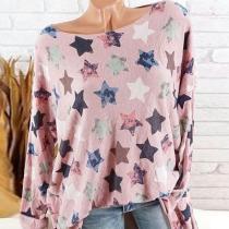 Autumn Spring  Cotton  Women  Round Neck  Printed Star Long Sleeve T-Shirts