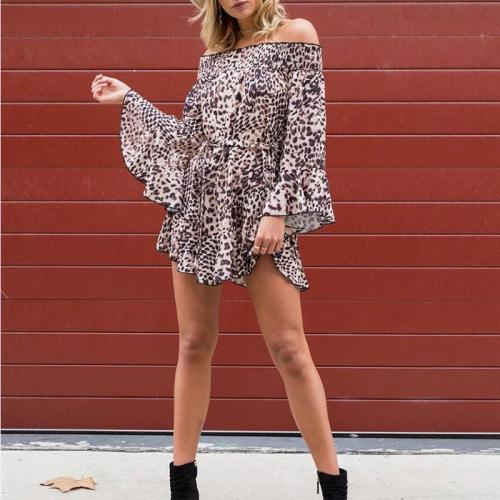 Sexy Off Shoulder Flare Sleeve Leopard Print Casual Dress