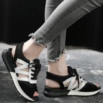 Leather Peep Toe Casuals Sneakers