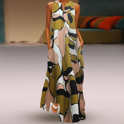 Vintage Printed Cotton Linen Casual Sleeveless Dress