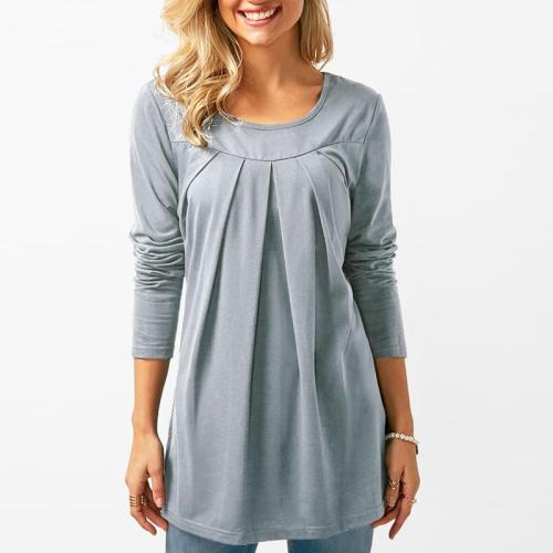 Round Neck Long Sleeve Pleated Patchwork T-Shirts