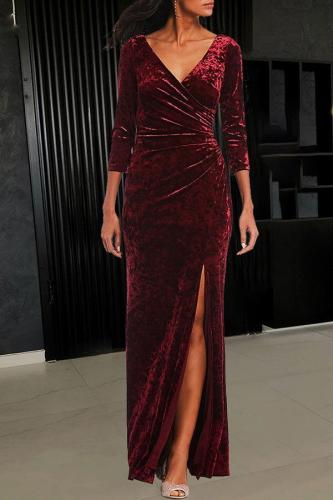 Sexy Gold Velvet  V-Neck Cropped Sleeves Slit Evening Dress