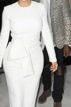 Fashion Round Collar Plain Belt Bodycon Dress