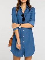 Turn Down Collar  Patch Pocket  Plain  Denim Casual  Dress