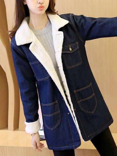 Lapel Flap Pocket Fleece Lined Denim Coat
