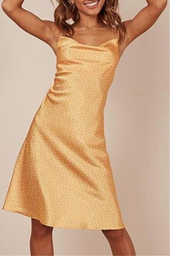 Sexy Low Collar Sling Silk Evening Dresses