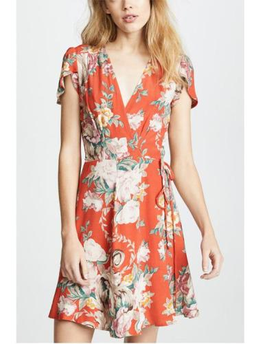 Fashion V Collar Floral Printed Belt Skater Dress